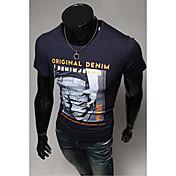 メンズラウンドネックファッションスリム柄レターショートスリーブTシャツを印刷