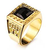 Hombre Anillos de Diseño Negro Gema Amor Personalizado joyería de disfraz Acero inoxidable Acrílico Chapado en Oro 18K de oro Forma