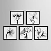 Floral/Botánico Lienzo enmarcado Conjunto enmarcado Arte de la pared,PVC Material Negro Passepartout no incluido con Marco For Decoración