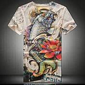 Camiseta De los hombres Estampado-Casual-Algodón / Elástico / Punto-Manga Corta-Multicolor