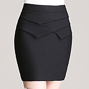 婦人向け ヴィンテージ / セクシー / ボディコン / パーティー / ワーク 膝上 スカート , ポリエステル / 伸縮地 / コットン混 伸縮性あり