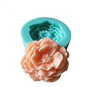 Molde 3D Peony Flowers silicona Fondant Moldes Azúcar herramientas artesanales de chocolate del molde para pasteles