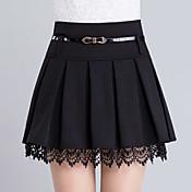 De las mujeres Faldas-Sobre la rodilla Casual / Simple Microelástico-Poliéster