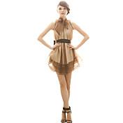Joanne vestido de fiesta de las mujeres gatito, bloque del color por encima de la rodilla sin mangas de poliéster de color marrón todas las estaciones
