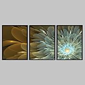 lienzo conjunto Floral/Botánico Modern Tradicional,Tres Paneles Horizontal lámina Decoración de pared For Decoración hogareña