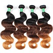 Ombre Cabello Brasileño Ondulado Grande 6 Meses 4 Piezas los tejidos de pelo