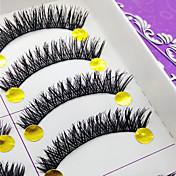 Pestañas Pestaña Pestañas Completas Ojos Grueso Denso Hecho a mano Fibra Black Band 0.10mm 10mm