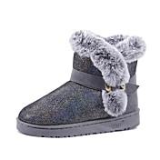 Mujer Botas Confort Botas de nieve PU Invierno Casual Confort Botas de nieve Pompón Tacón Bajo Negro Rosa Caqui Plano