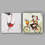 Pintada a mano Abstracto / Personas Pinturas de óleo,Modern / Clásico Un Panel Lienzos Pintura al óleo pintada a colgar For Decoración