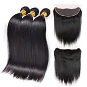 Cabello humano Cabello Hindú Tejidos Humanos Cabello Liso Extensiones de cabello 4 Piezas Negro