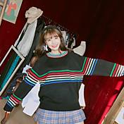 oportunidad real. 2017 nueva versión coreana de la pequeña de arco iris fresca rayas jersey de manga larga de tocar fondo remata la camisa