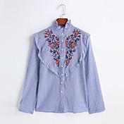 Mujer Simple Casual/Diario Trabajo Primavera Verano Camisa,Cuello Alto Bordado Manga Larga Algodón