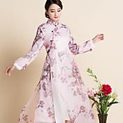 Signo primavera nuevo chino impresión de viento flojo grandes yardas vestido de organza traje cheongsam vestir té