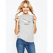 Ebay aliexpress caliente nuevo patrón animal unicornio impreso cuello redondo manga corta camisetas mujer tops