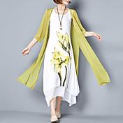 Mujer Corte Ancho Vestido Noche Tallas Grandes Simple,Floral Escote Redondo Maxi Algodón Verano Tiro Medio Rígido Medio