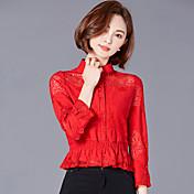 Camisa de encaje hembra coreana delgada hueco camisa de manga corta camisa de manga larga 2017 nueva marea de primavera