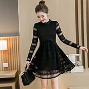 signo de encaje vestido coreano de las mujeres alrededor del cuello de costura del cordón pliegue era delgada 2017 nueva primavera vestido