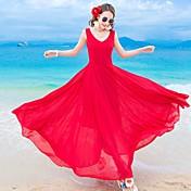 Mujer Recto Corte Swing Vestido Noche Playa Vacaciones Bonito,Un Color Escote en Pico Midi Sin Mangas Nailon Verano Tiro Medio