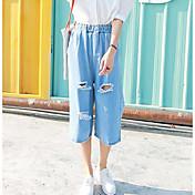 Mujer Chic de Calle Tiro Alto strenchy Vaqueros Pantalones,Delgado Un Color