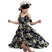 Vestido Chica de Floral Poliéster Sin Mangas Verano