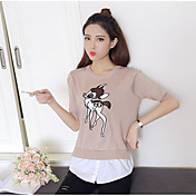 Mujer Sexy Noche Primavera Camiseta,Escote Redondo Estampado Animal Manga Corta Algodón Fino