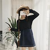 Mujer Simple Casual/Diario Primavera Camiseta,Escote Redondo Un Color Manga Larga Algodón Opaco
