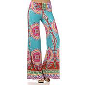 Mujer Sencillo Tiro Medio Microelástico Perneras anchas Pantalones,Perneras anchas Estampado