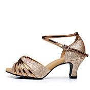 Mujer Latino Brillantina Lentejuelas Sintético Sandalias Tacones Altos Zapatillas Interior Volantes Hebilla Fruncido BrillantinaTacón