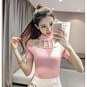 Mujer Regular Pullover Casual/Diario Un Color Escote Redondo Manga Corta Algodón Primavera Medio Microelástico
