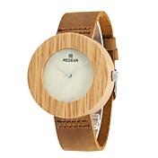 Hombre Reloj de Moda Reloj Madera Japonés Cuarzo de madera Cuero Auténtico Banda Encanto Elegantes Marrón