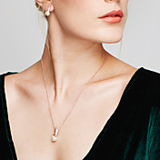 女性用 ジュエリーセット スタッドピアス ペンダントネックレス 真珠 模造ダイヤモンド ベーシック ファッション 欧風 Elegant コスチュームジュエリー 真珠 人造真珠 ラインストーン ローズゴールドめっき ボール型 ネックレス イヤリング・ピアス 用途 結婚式
