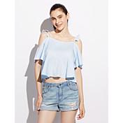 Mujer Simple Bonito Casual/Diario Fiesta de Cumpleaños Noche Primavera Verano Camiseta,Con Tirantes Un Color Sin Mangas Algodón Elástico