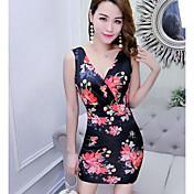 Mujer Vaina Vestido Noche Discoteca Floral Escote en Pico Sobre la rodilla Sin Mangas Poliéster Verano Tiro Medio Microelástico Fino