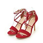 Mujer Zapatos Semicuero Verano D'Orsay y Dos Piezas Sandalias Tacón Stiletto Puntera abierta Hebilla Para Boda Casual Vestido Negro Rojo