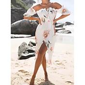 Mujer Corte Bodycon Vestido Casual/Diario Floral Escote Barco Asimétrico Manga Corta Poliéster Verano Tiro Medio Rígido Opaco