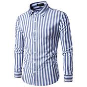 Masculino Camisa Social Festa Para Noite Casual Simples Temática Asiática Primavera Outono,Listrado Algodão Colarinho de CamisaManga