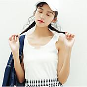 Mujer Simple Casual/Diario Tank Tops,Con Tirantes Un Color Sin Mangas Algodón Otro