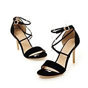 Mujer Zapatos Semicuero Verano D'Orsay y Dos Piezas Sandalias Puntera abierta Hebilla Para Boda Casual Vestido Negro Rojo Rosa Azul Claro