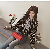 Mujer Simple Casual/Diario Blusa,Escote en Pico Estampado Manga Larga Poliéster