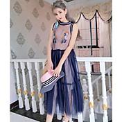レディース お出かけ 夏 Tシャツ(21) スカート スーツ,シンプル ラウンドネック 刺繍 ノースリーブ