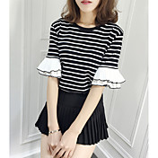 Mujer Simple Casual/Diario Camiseta,Escote Redondo A Rayas Media Manga Algodón Poliéster