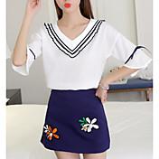 Mujer Simple Casual/Diario Primavera Blusa Falda Trajes,Escote en Pico Varios Colores Estampado Flor Manga Tres Cuartos