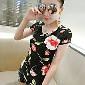 Mujer Simple Noche Camiseta,Escote Redondo Floral Manga Corta Algodón