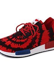 Feminino Sapatos Tecido Outono Conforto Tênis Rasteiro Ponta Redonda Cadarço Para Casual Branco Preto Vermelho Rosa claro
