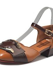 Feminino Sapatos Couro Ecológico Outono Conforto Saltos Salto Baixo Ponta Redonda Combinação Para Casual Bege Verde Castanho Claro