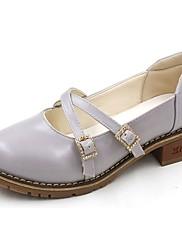Feminino Sapatos Couro Ecológico Verão Conforto Saltos Caminhada Rasteiro Ponta Redonda Para Casual Cinzento Amêndoa