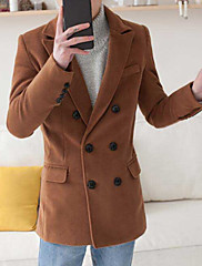 Masculino Casaco Casual Simples Outono,Sólido Padrão Lã Lapela Chanfrada Manga Longa