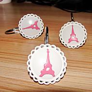 Shower Curtain Hooks, Metal Pattern Modern Style Torre Eiffel (12 pack)