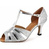 latin / salsa dansschoenen op maat van vrouwen kunstleer sprankelende zilveren kleur balzaal schoenen
