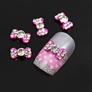 10шт ясно горный хрусталь розовый галстук-бабочка сплава ногтей украшения